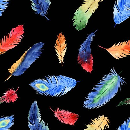 Watercolor summer seamless pattern with bright tropical feathers on a black background