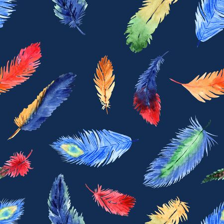 Watercolor summer seamless pattern with bright tropical feathers on a blue background