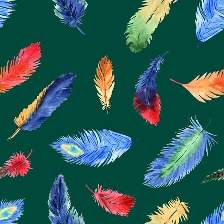 Watercolor summer seamless pattern with bright tropical feathers on a green background