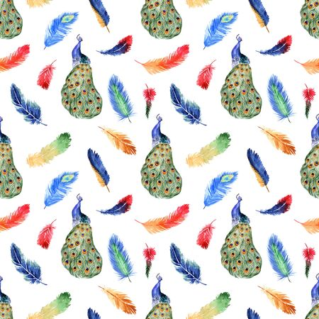 Watercolor summer seamless pattern with bright tropical feathers and peacock on a white background
