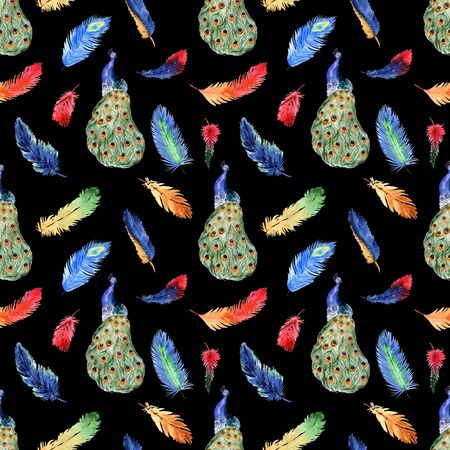 Watercolor summer seamless pattern with bright tropical feathers and peacock on a black background