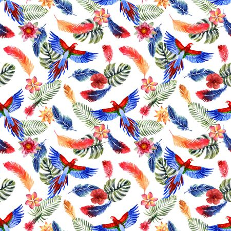 Watercolor summer seamless pattern with bright tropical feathers, flowers, leaves and macaw parrot on a white background