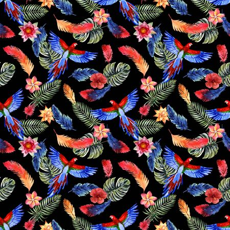 Watercolor summer seamless pattern with bright tropical feathers, flowers, leaves and macaw parrot on a black background
