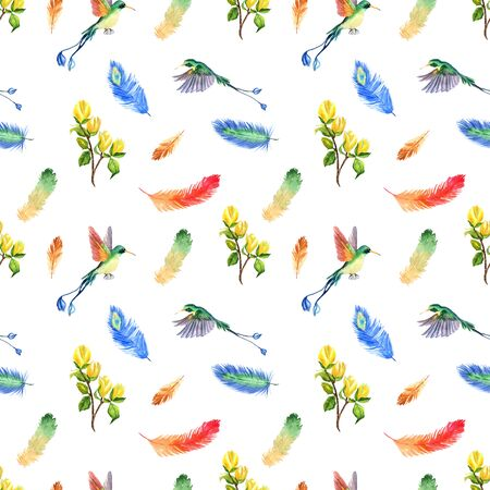 Watercolor summer seamless pattern with bright tropical feathers, flowers and hummingbirds on a white background Archivio Fotografico