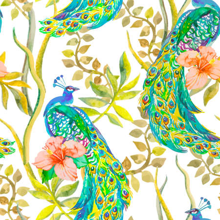 fabric painting: Beautiful peacock pattern. Tropical seamless pattern. Vector. Peacocks and plants, tropical flowers, hibiscus. Illustration