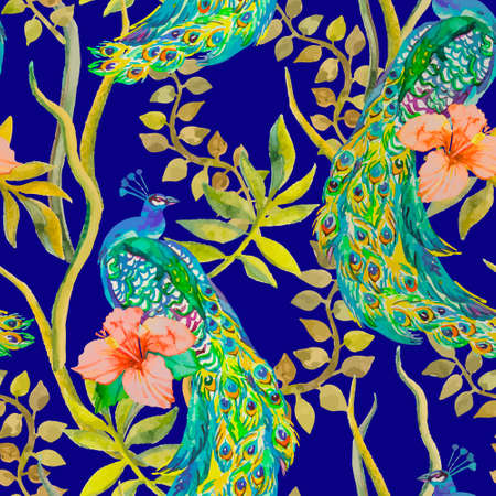 Beautiful peacock pattern. Tropical seamless pattern. Vector. Peacocks and plants, tropical flowers, hibiscus. Ilustração