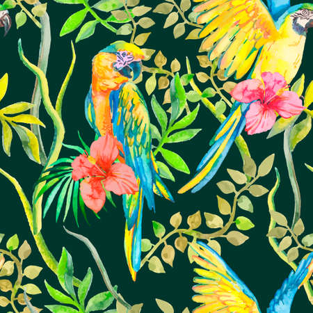 topical: Macaw seamless pattern. Topical flower and leaves, hibiscus. Tropical parrot. Exotic. Vector for your design.