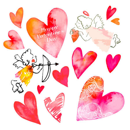 pink hearts: Isolated vector for your design.