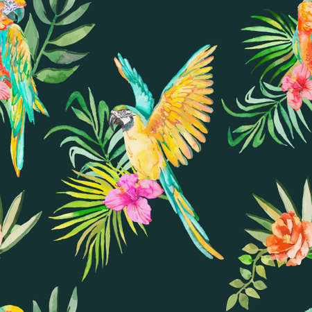 Macaw seamless pattern. Palm leaves and tropical flower and camellias. Tropical parrot. Exotic.