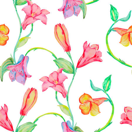 Curly flowers seamless pattern. Tropical flowers.