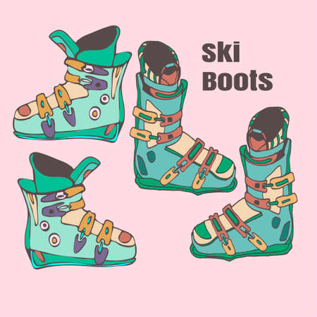 calzado de seguridad: dos pares de botas de esqu� handmade ilustraci�n