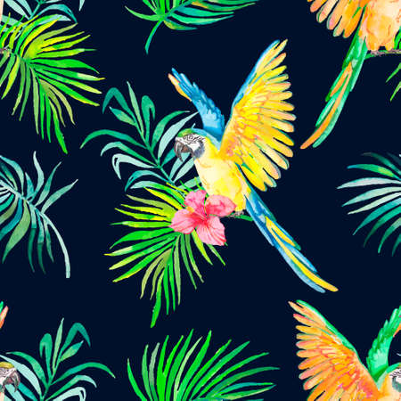 Palm leaves and tropic parrot.