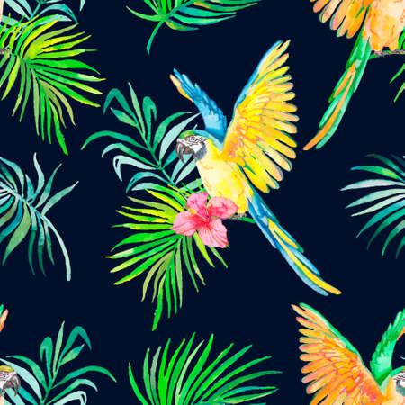 Palmbladeren en tropische papegaai.