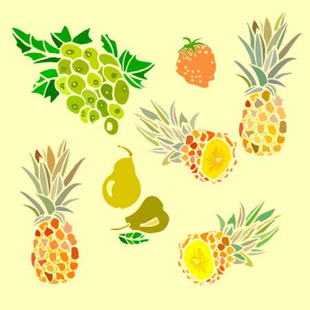 pineapple: pear fruit pineapple grapes strawberries illustration