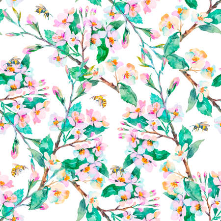 japan pattern: Flowering branches. Stock Photo