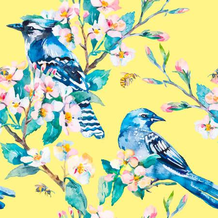 bluejay: Honeybee. Spring pattern. Vector. Watercolor