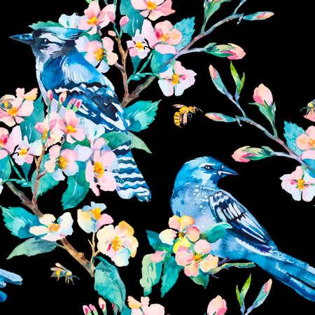 flores chinas: Abeja. Patrón de la primavera. Vector. Acuarela