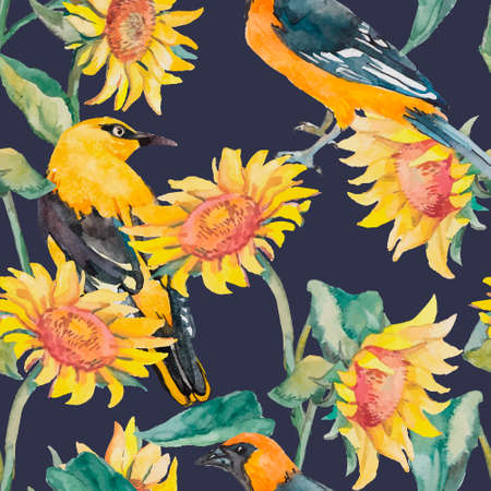 oriole: Exotic bird. Watercolor. Vector.Sunflowers and oriole pattern watercolor.