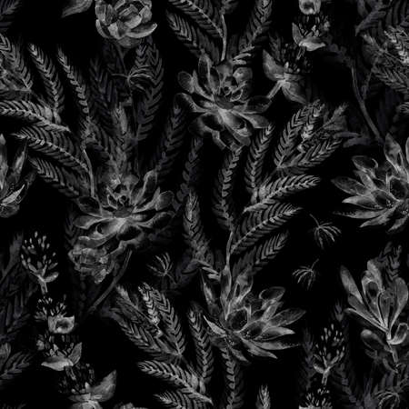 thorns: Succulents, ferns, thorns. Fashionable and quality pattern.