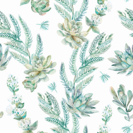 ferns: Succulents, ferns, thorns. Fashionable and quality pattern.