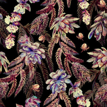 Succulents, ferns, thorns. Fashionable and quality pattern.