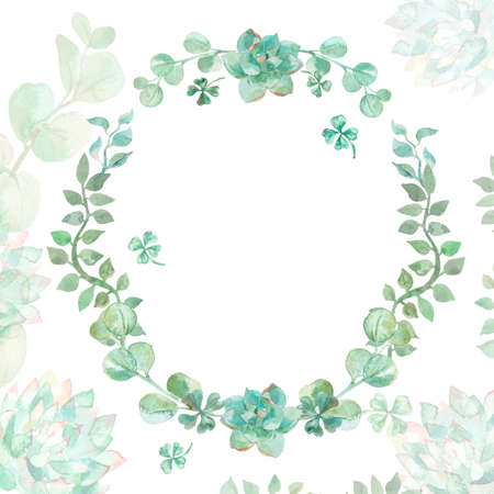 wedding invitation vintage: Wreath succulents and eucalyptus. Greeting card art.