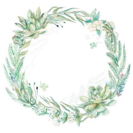 Wreath succulents and eucalyptus. Greeting card art.