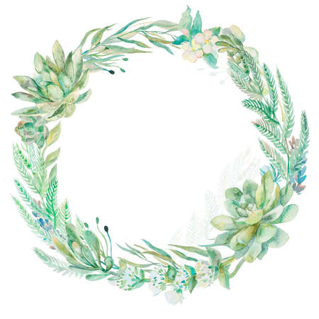 Wreath succulents and eucalyptus. Greeting card art.