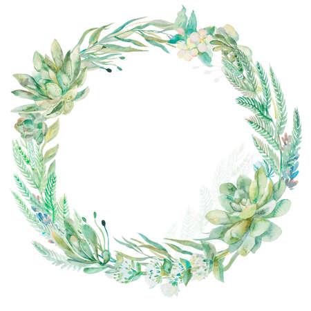 eucalyptus: Wreath succulents and eucalyptus. Greeting card art.