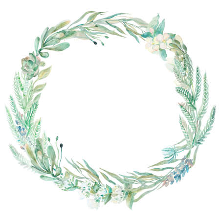 floral wreath: Wreath succulents and eucalyptus. Greeting card art.