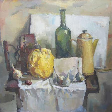 transferred: Vector still life. Still life painted in oil on canvas transferred into the vector. Illustration