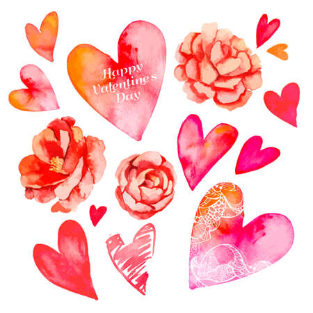hearts and flowers: Illustration for your design and work. Handmade. Illustration