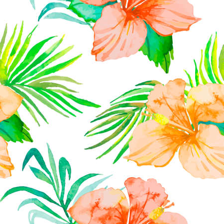 monstera leaf: Tropical pattern. Tropical flowers and leaves for your design. Hibiscus, monstera leaf, palm leaves. Seamless pattern.