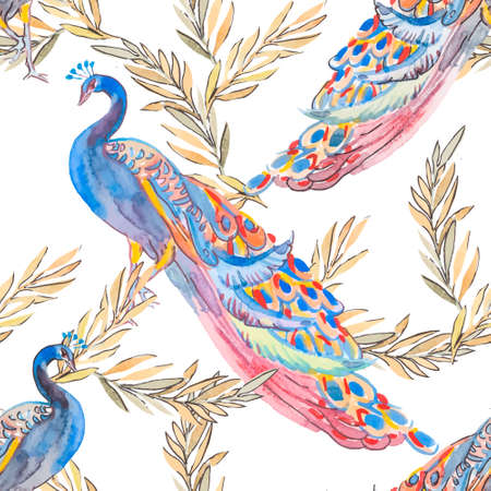 peafowl: Fashionable and quality pattern. Watercolor handmade painting.