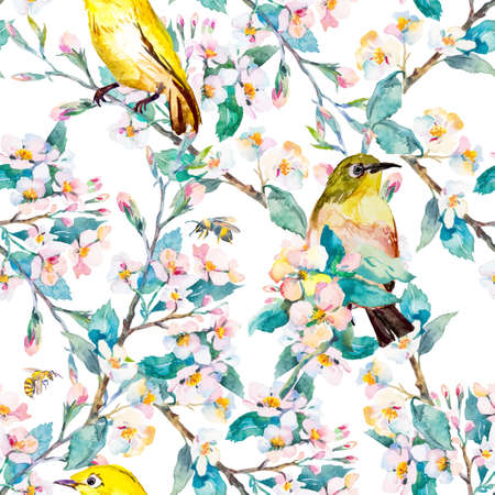 ornithology: Fashionable and quality pattern. Watercolor handmade painting.