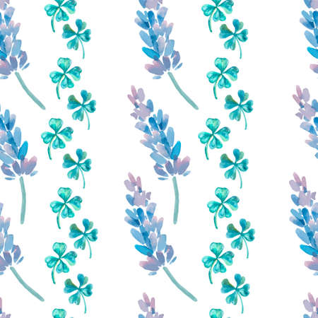 officinalis: Fashionable and quality pattern. Watercolor handmade painting.