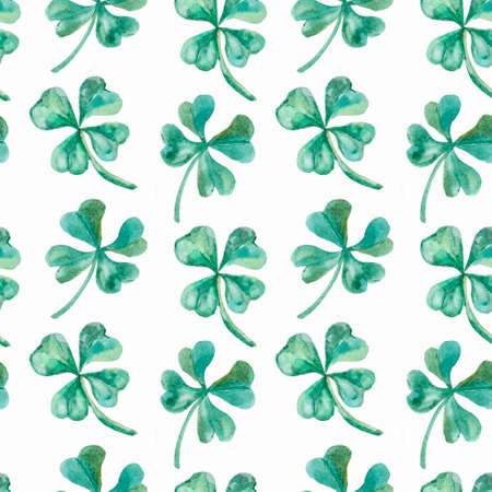 shamrock: Fashionable and quality pattern. Watercolor handmade painting.