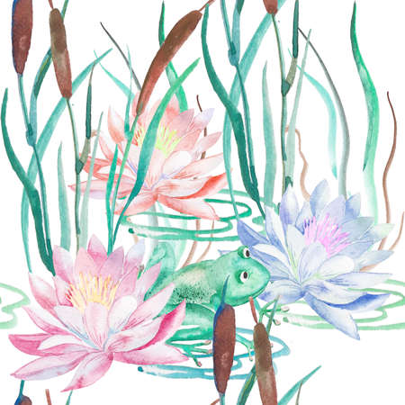 lily pad: Handmade. Watercolor illustration of a high quality for your design. Eco art.