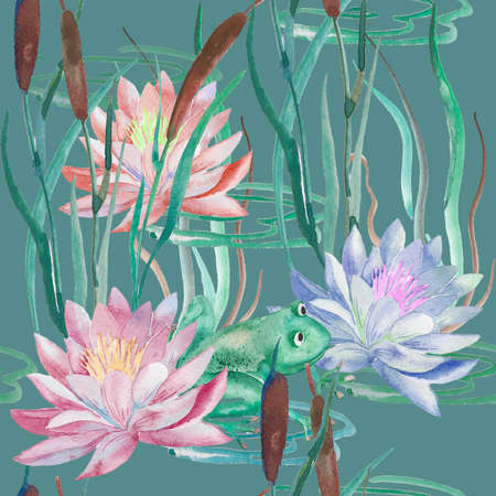 pad  lily: Handmade. Watercolor illustration of a high quality for your design. Eco art.
