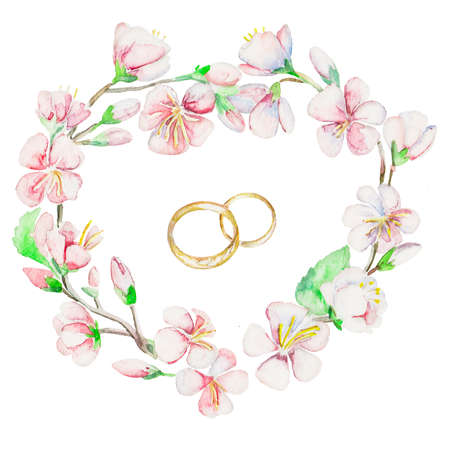 wedding ring: Handmade. Watercolor illustration of a high quality for your design. Eco art.