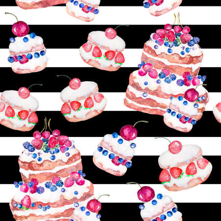 porcion de torta: Handmade. Watercolor illustration of a high quality for your design. Eco art.