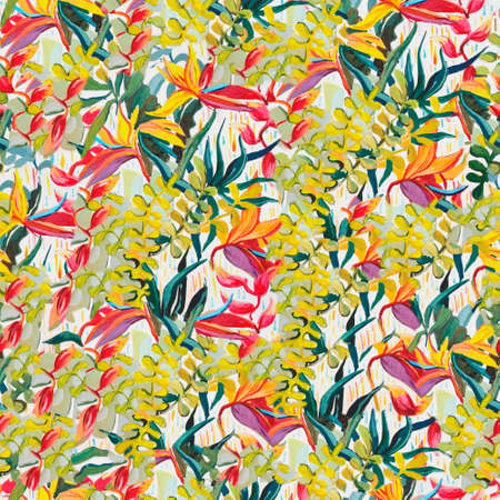 Tropical pictorial pattern. Oil painting on canvas.
