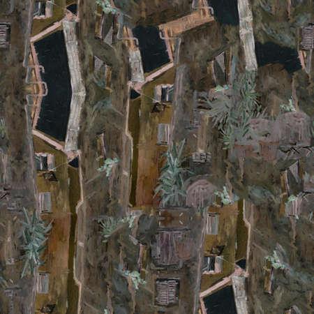 Italian city. Oil painting seamless pattern. Old city
