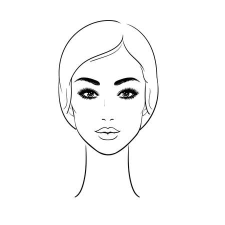 Beautiful Young woman face isolated on a white background. Beauty concept. Black and white .Hand drawing illustration.