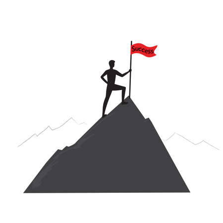 Silhouette of a man on the mountain holding a flag. Successful concept, challenge.Winner isolated on white background. Stock illustration.