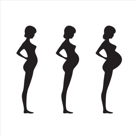 Collection of silhouettes of pregnant women isolated on white background.Stock vector illustration.Set of women with belly.