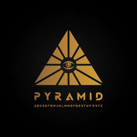 Golden pyramid logo vector illustration