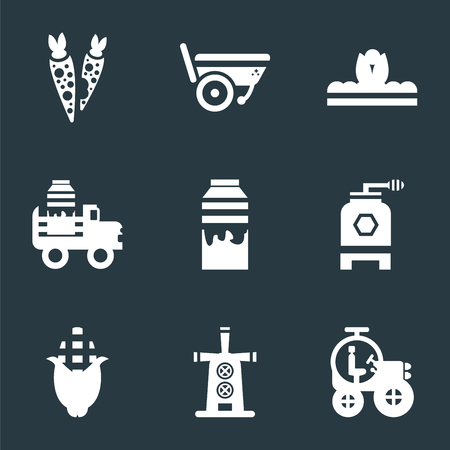 Set Of 9 simple icons such as Tractor, Windmill, Corn, Beehive, Milk, Pick up, Sprout, Wheelbarrow, Carrots, can be used for mobile, pixel perfect vector icon pack on black background