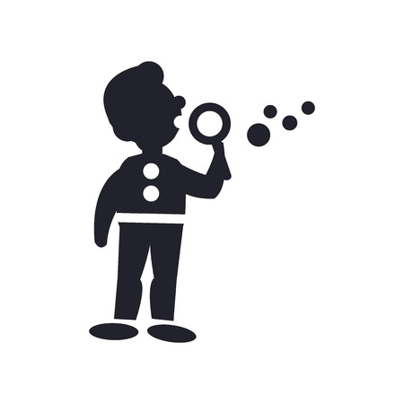 Man making soap bubbles icon vector isolated on white background for your web and mobile app design, Man making soap bubbles logo concept