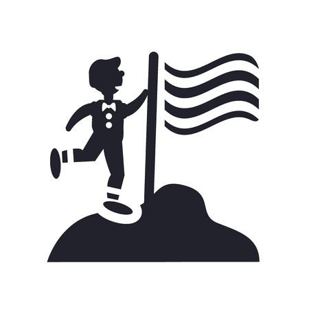 Mann, der einen Flaggenikonenvektor lokalisiert auf weißem Hintergrund für Ihr Web- und mobile App-Design, Mann hält ein Flaggenlogokonzept hält Logo